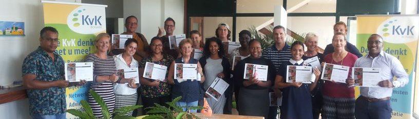 Alle cursisten van de Workshop Online Marketing met certificaat